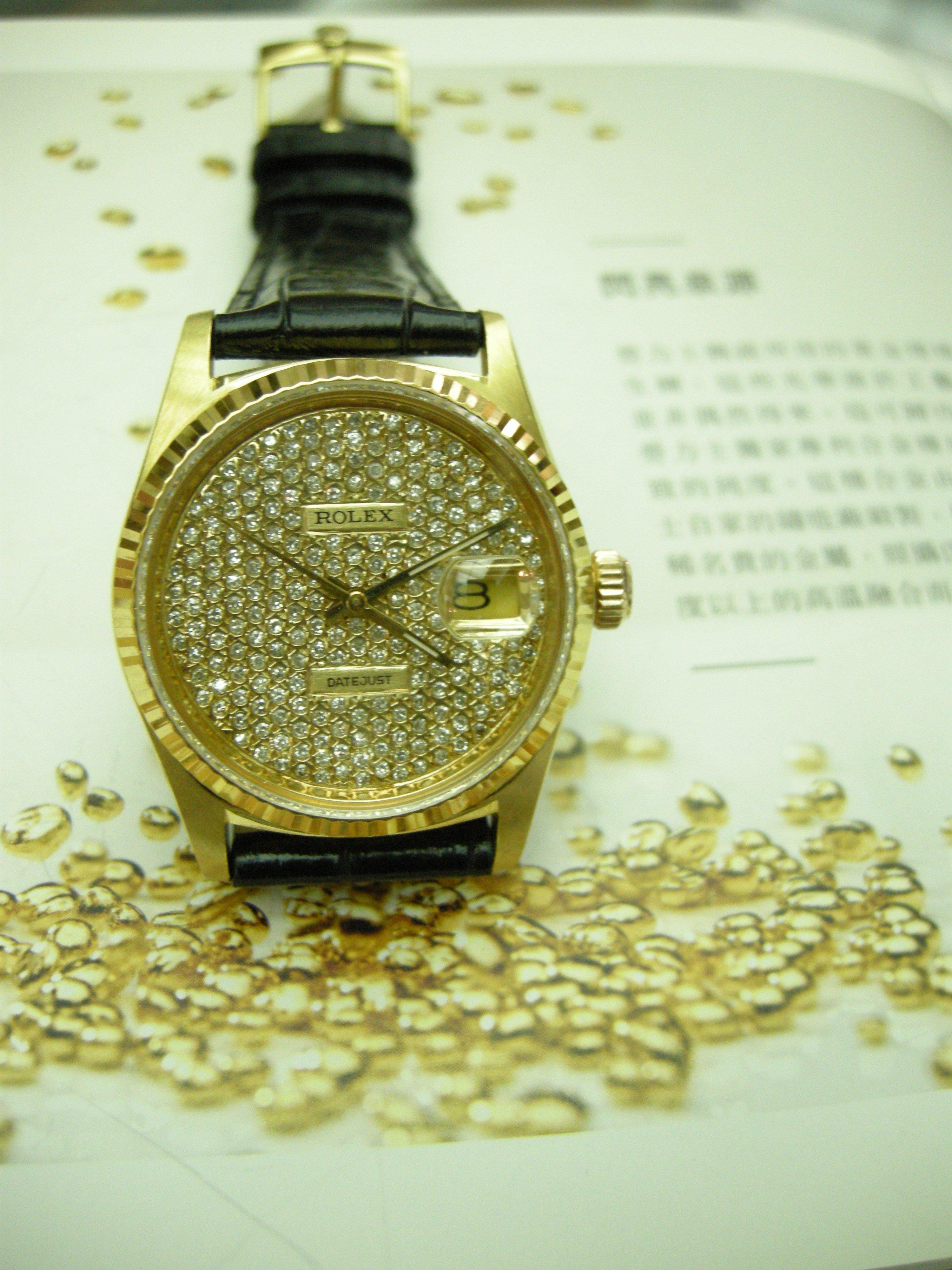 ROLEX  勞力士16018蠔式款(18K金壳特定鑄造) 滿天星全鑽面 品相極美