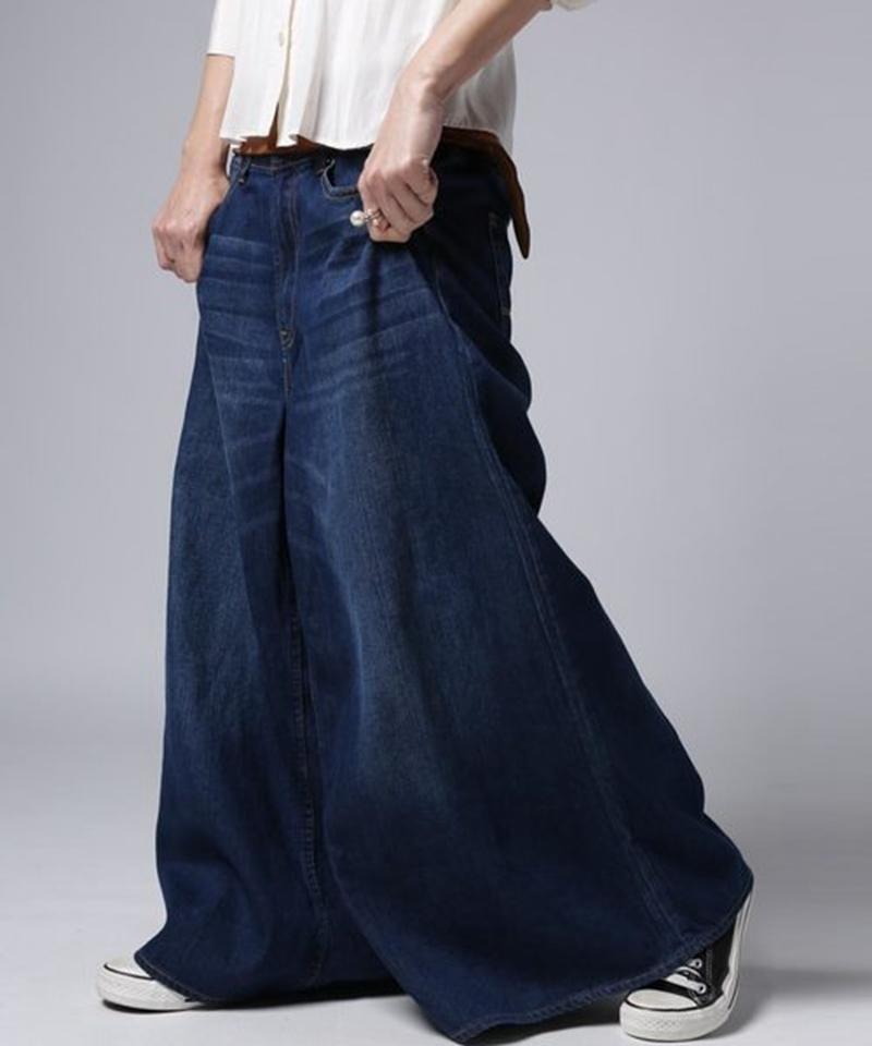 設計感低垮牛仔褲裙