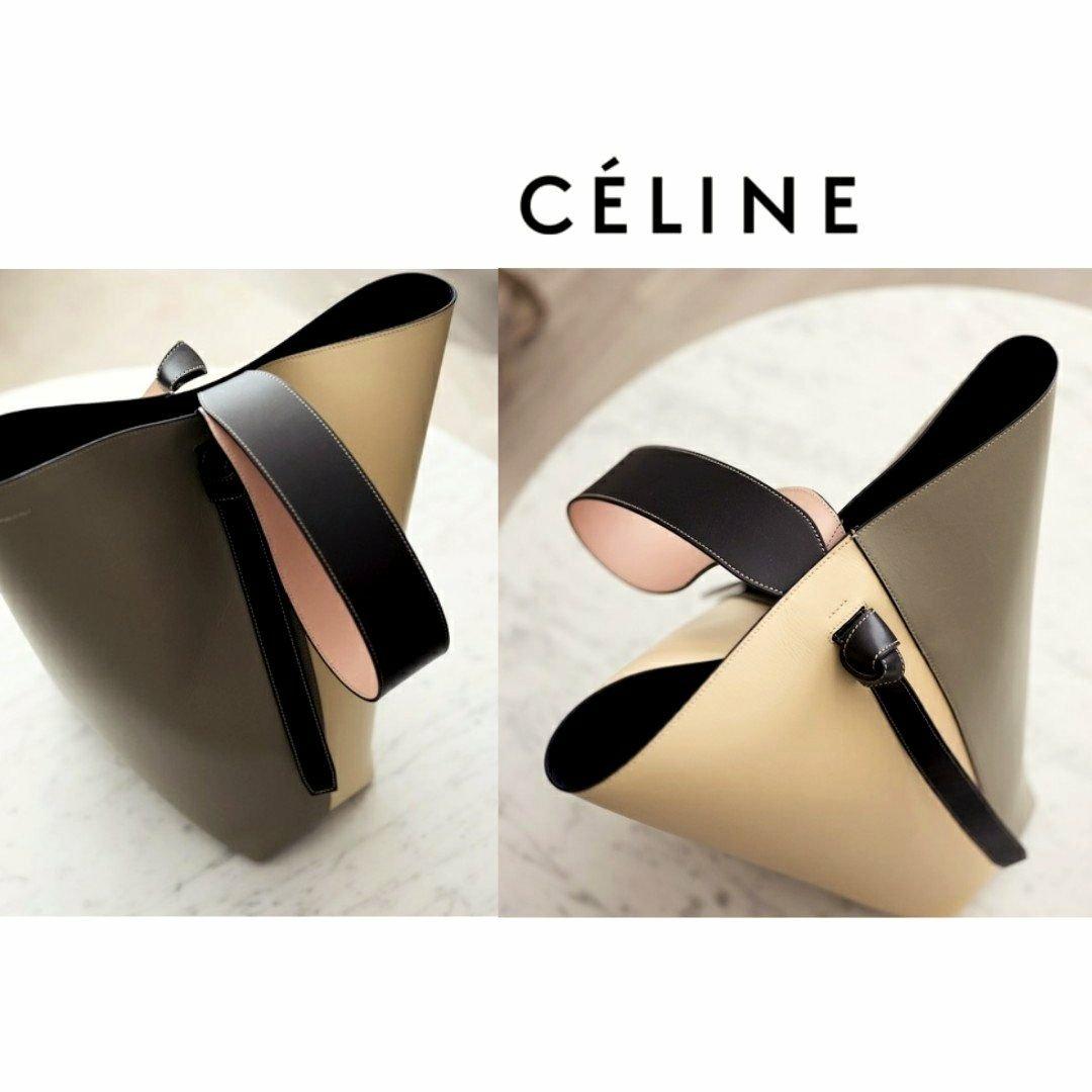 CELINE ► Twisted Cabas( 灰綠色×奶油淡米黃色×黑色 )撞色 真皮手提包 托特包 肩背包 |100%全新真品|  特價!