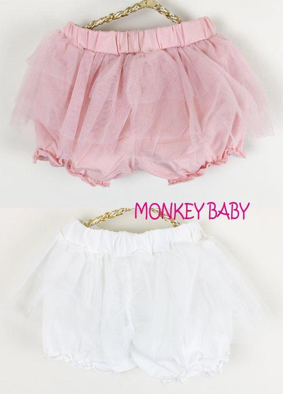 滿699免運【MONKEY BABY 】幼童蕾絲束口短褲2色可選(3-9M穿)