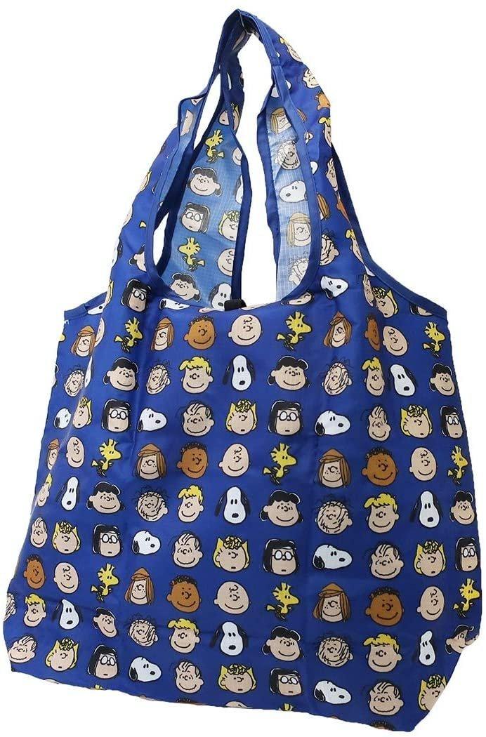 沛吉兔日貨館。日本直送 現貨 SNOOPY 史努比 查理布朗 糊塗塔克 購物袋 環保袋 可摺疊收納 PEANUTS 藍色