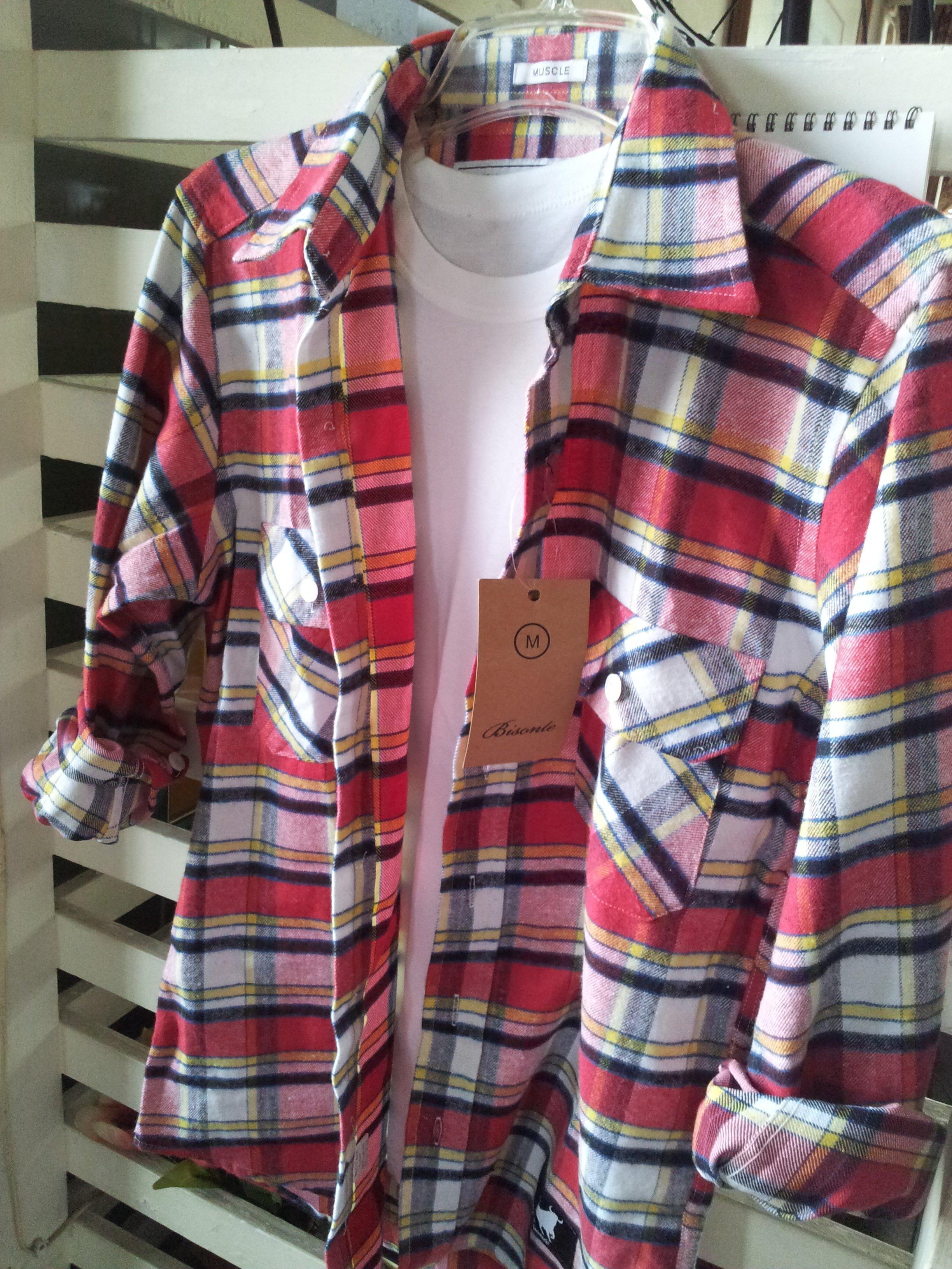 格子 格紋 長袖 襯衫 口袋 寬鬆 長版 翻領 百搭