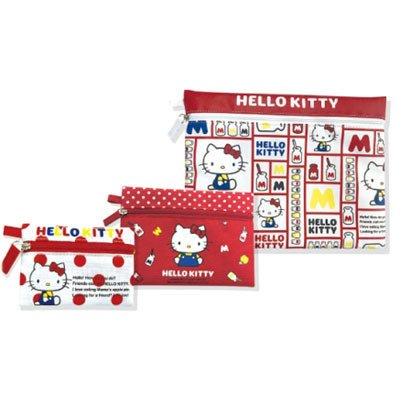 ☆彩虹棉花糖☆ 款@  Hello Kitty 拉鍊收納袋 3入組 收納包 筆袋 文具收納 小物收納 文件袋