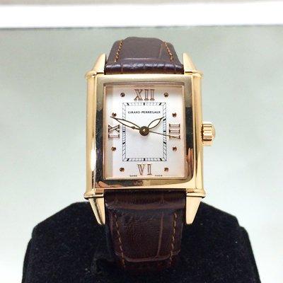 順利當舖  Girard Perregaux/芝柏  狗頭新款方弧形18K玫瑰金自動女錶