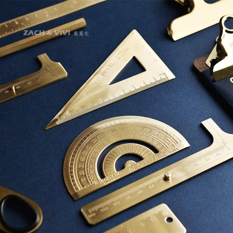 【ZACH   VIVI 窩窩宅】 復古黃銅 三角尺 量角器 直尺 量尺 純銅 文具 EDC野外 卡尺 事務文具 製圖