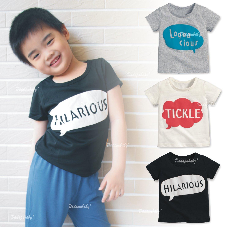 【達搭ㄅㄨˊ寶貝屋】D10663中大童印花上衣 對話上衣 短袖 圓領 軟綿 浮水印花 率性 T恤 綿T 中性 百搭