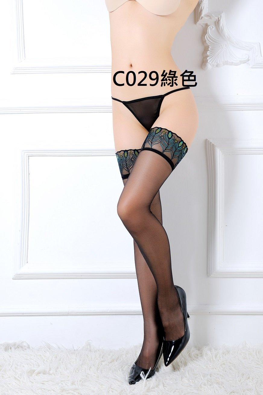 可 蕾絲吊襪帶 綠色孔雀花紋邊大腿絲襪 實搭款 辣妹夜店短裙睡衣 二色C029