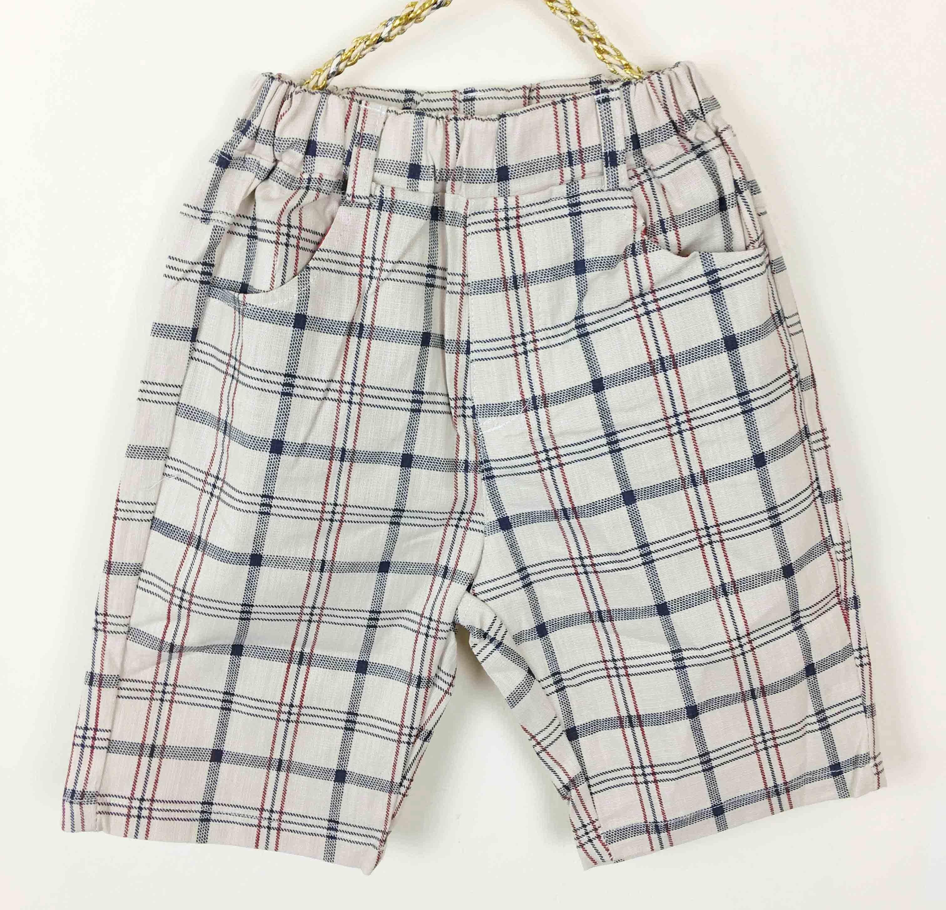 滿699免運【MONKEY BABY 】棉麻質料格子短褲(372020