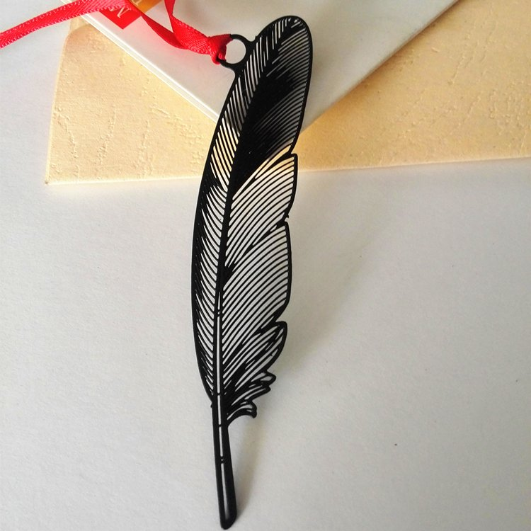 中國風書籤 書夾【黑色羽毛】 和風黑色羽毛不銹鋼烤漆商務學生 定制書簽
