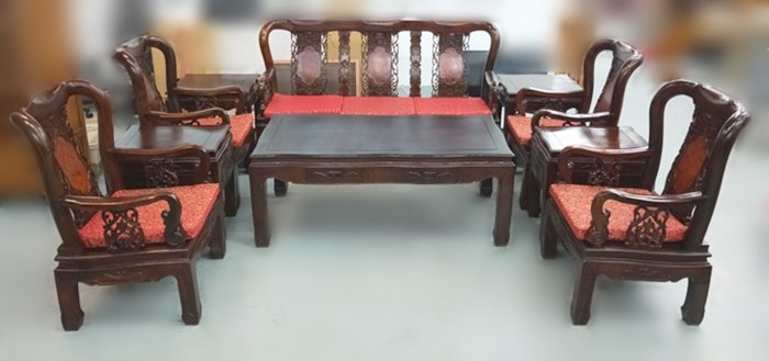 【宏品二手家具館】ZM111017*戰國雞翅木10件式組椅*全新中古傢俱家電 原木木板椅 茶几 泡茶桌椅 紅木 花梨木