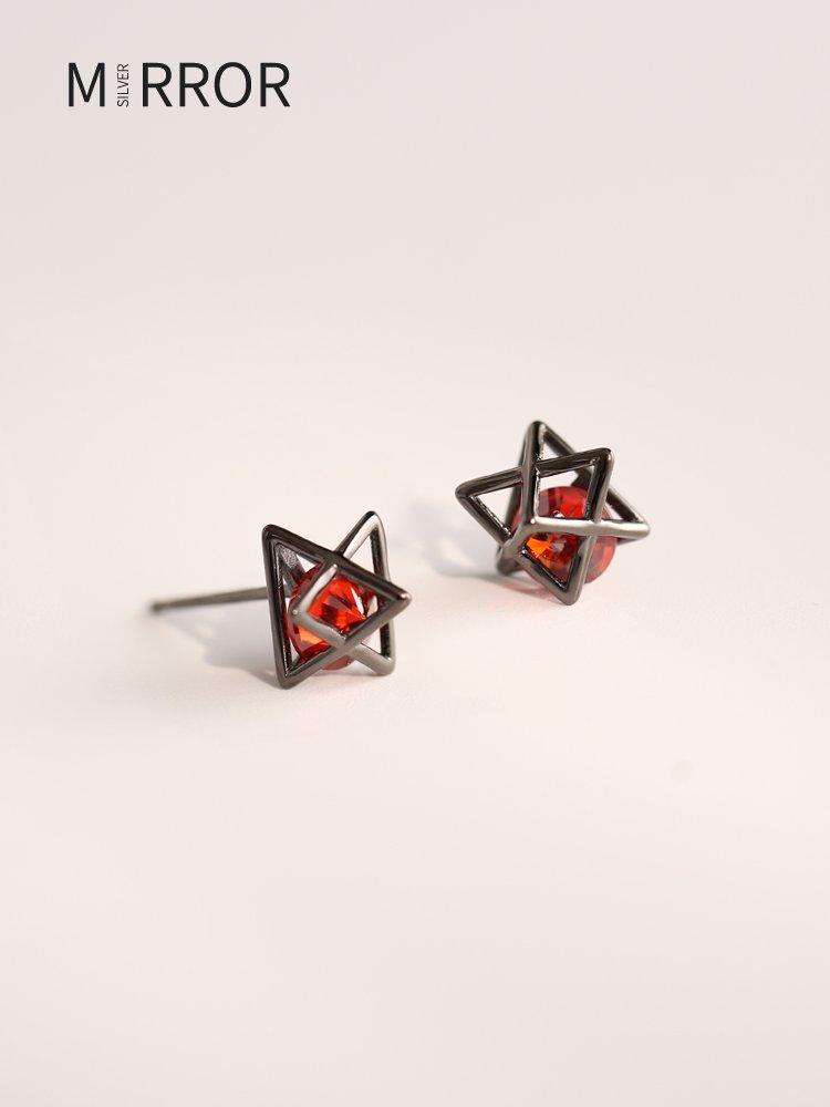 sppgge ONE~@小麋人 幾何之美S925純銀睡覺不用摘的耳釘女三角形黑色耳環耳飾