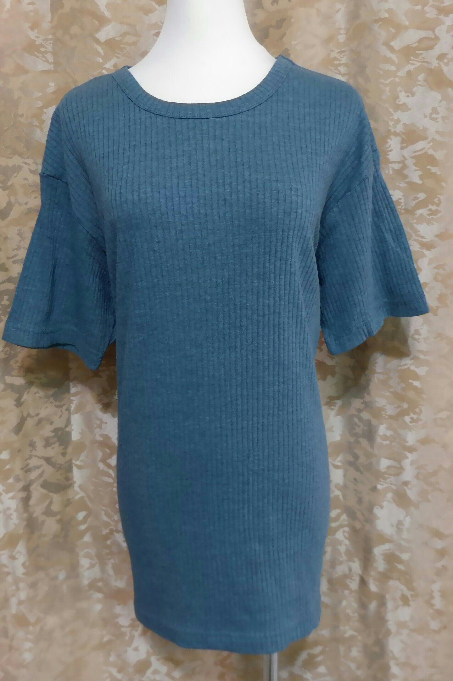 ~麗麗ㄉ大碼舖~大尺寸S-XL(42-50吋)灰藍 鐵灰 白色羅紋圓領短袖彈性上衣~