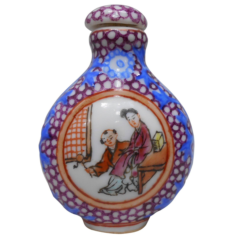 大陸早期浮雕彩繪迷你鼻煙壺瓷器1入 (PH-011) 免運費