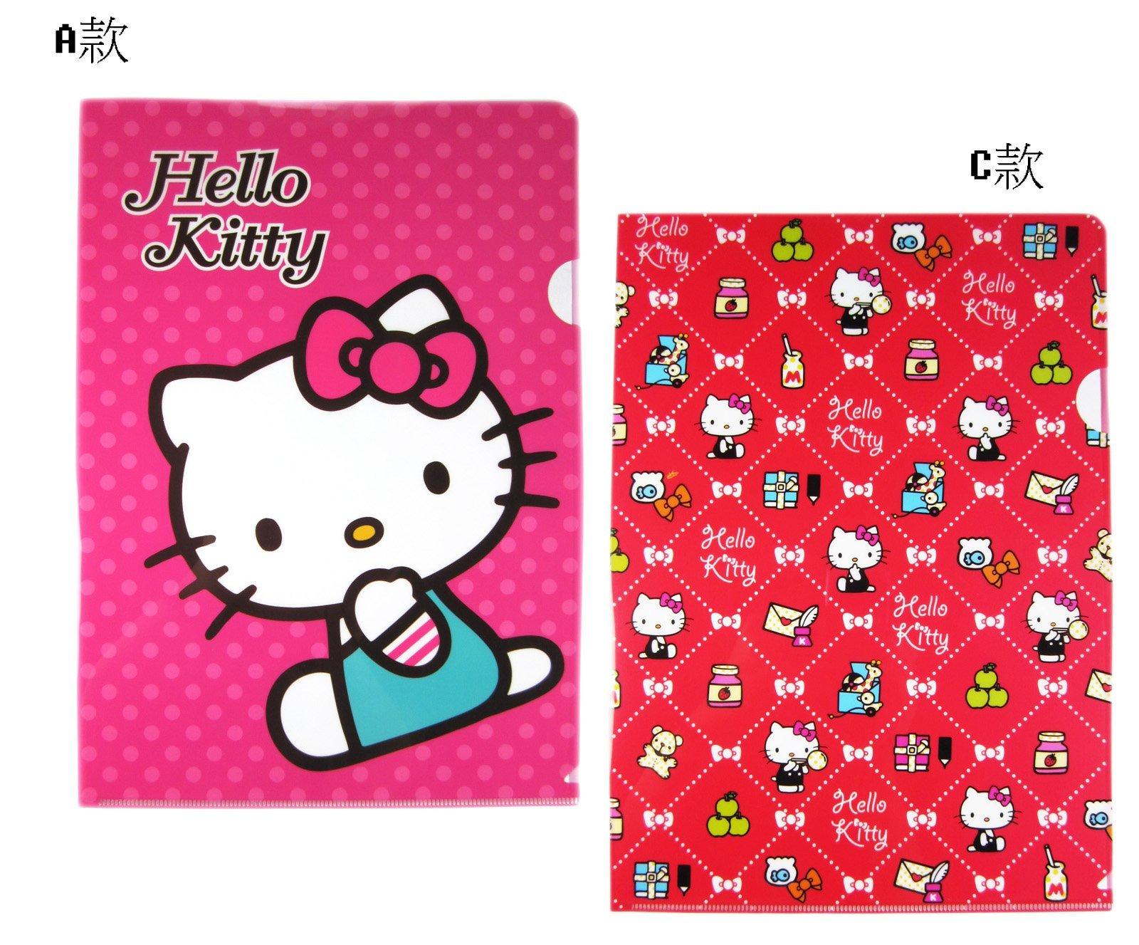 【卡漫迷】 Hello Kitty L字型 資料夾 四個 ㊣版 三麗鷗 凱蒂貓 文件夾 文具 檔案夾 製