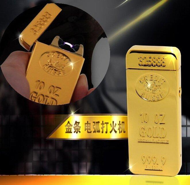 數碼三C 電磁脈衝電弧 黃金 金條 金屬 USB 充電式 電子打火機 點煙器 防風 點菸器 免瓦斯 灌油 行動電源可充