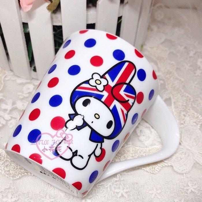 ♥小公主 ♥ 三麗鷗 MELODY 英國國旗風 站姿 滿版 點點 陶瓷馬克杯 握把杯 11209003