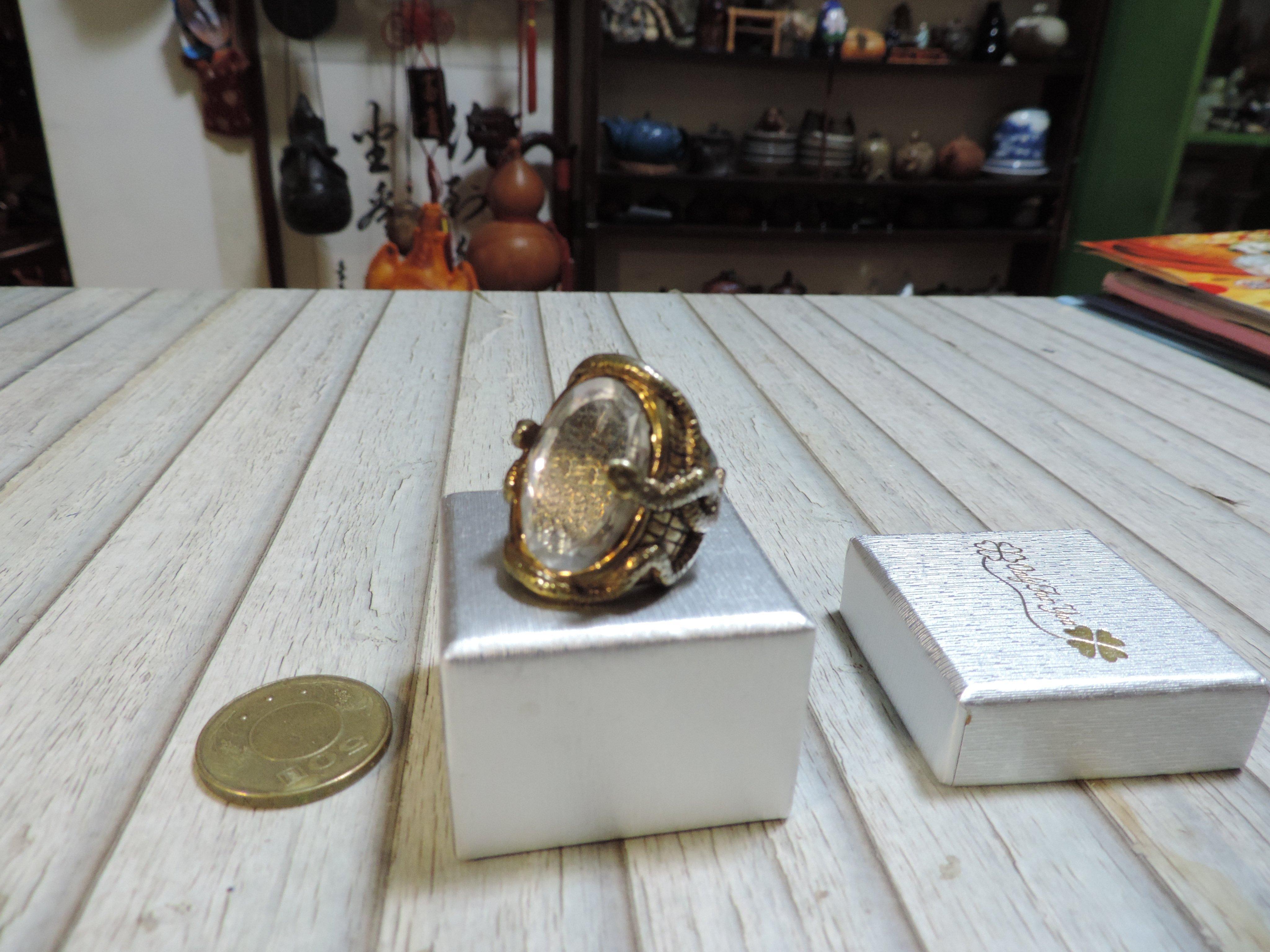 鑲水晶大寶石鍍金戒指 雙蛇獻瑞 施華洛世奇白水晶 12生肖金屬動物蛇  蛇麼都如意   好戴圓滑不卡手 骨董復古(附盒)