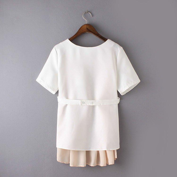 女装 韩版简约拼色圆领短袖显瘦衬衫L號 圖1正面喔圖2背面