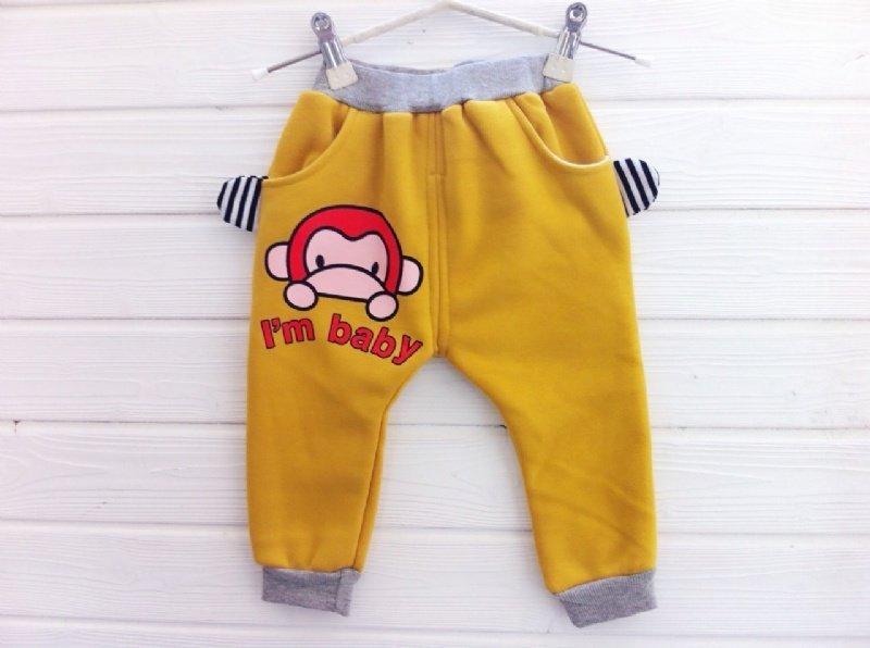 **阿布 **【CQD1822】小童黃色小猴加絨長褲打底褲90cm 95cm