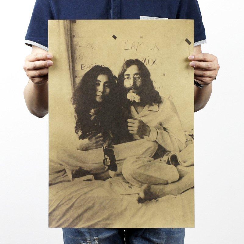 【貼貼屋】約翰藍儂夫婦 懷舊復古 牛皮紙海報 壁貼 店面裝飾 電影海報 301