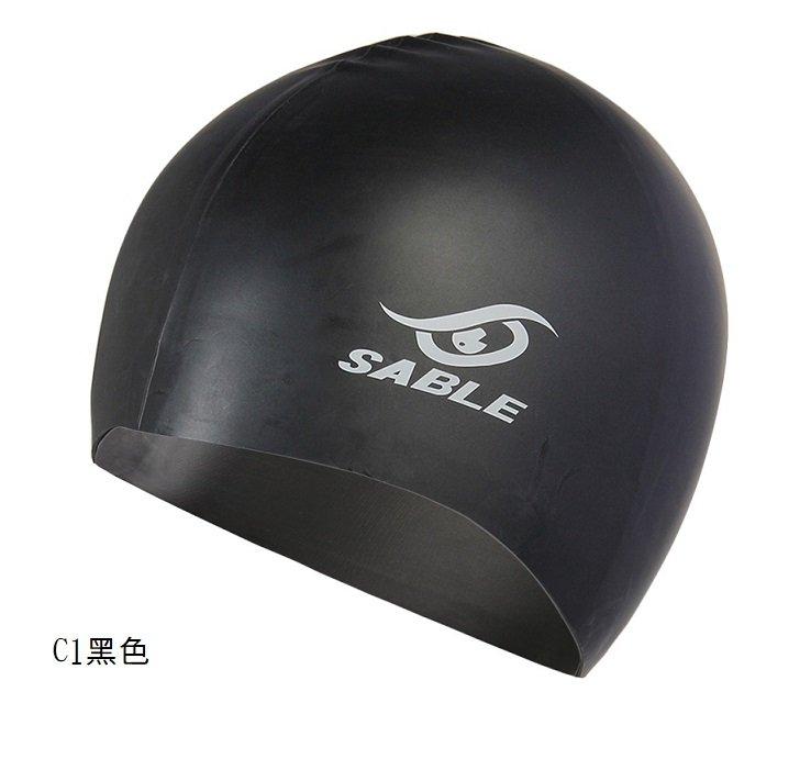 SCS(C1黑色) 【黑貂泳帽SABLE】 單色矽膠泳帽 每頂