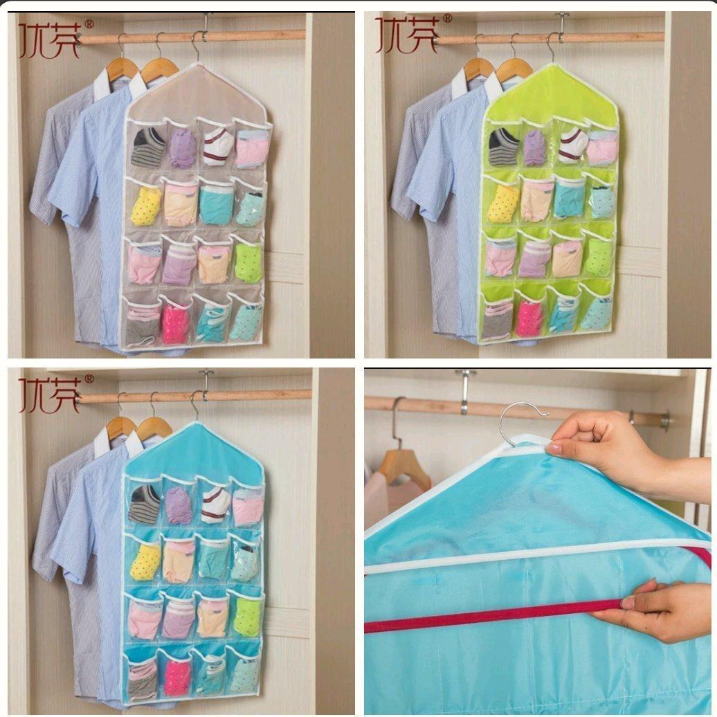 ♡16格衣櫃 門後透明收納袋♡水藍 青檸 裸色,三色可選♡方便收藏衣物多層懸掛袋♡小東西的家,門後牆掛式收納袋