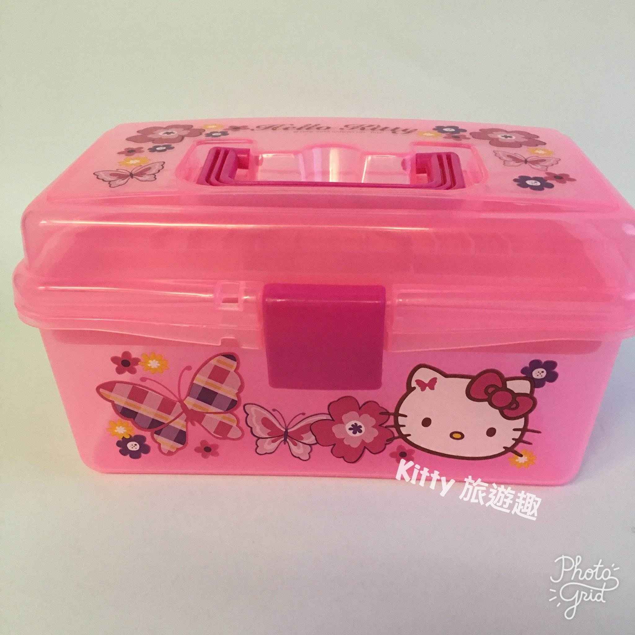 [Kitty 旅遊趣] Hello Kitty 雙層收納提盒 文具盒 小物收納盒 勞作盒 凱蒂貓 粉紅色 透明收納盒