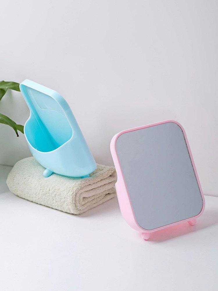 品如衣櫃 化妝棉 發卡 居家家 桌面帶收納盒梳妝鏡化妝鏡子 宿舍臺式小方鏡化妝鏡公主鏡