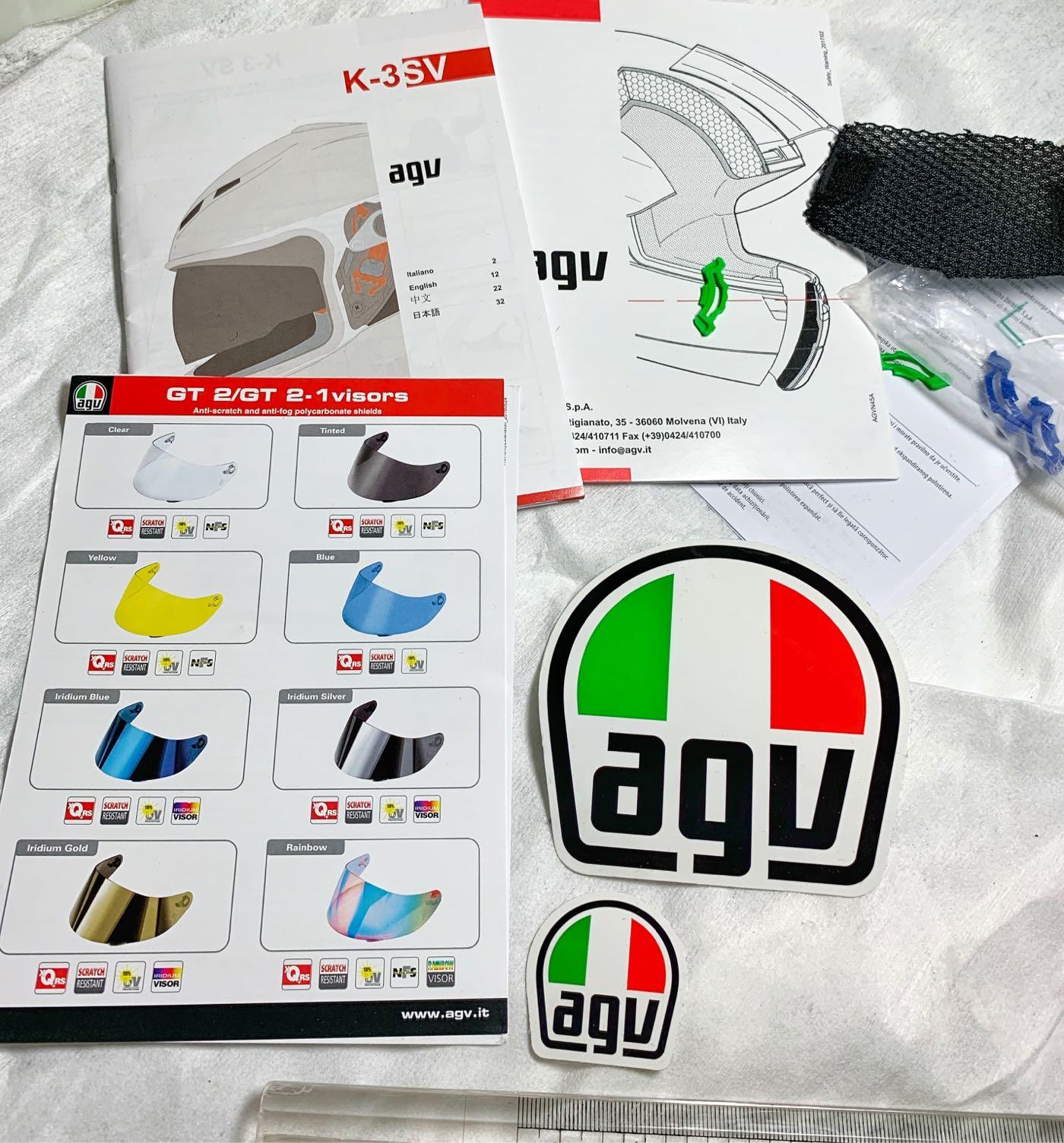 【250含運賣】K3安全帽說明書含AGV原廠貼紙與配件,貼紙大小共2張,8X8和3.5X3.5公分
