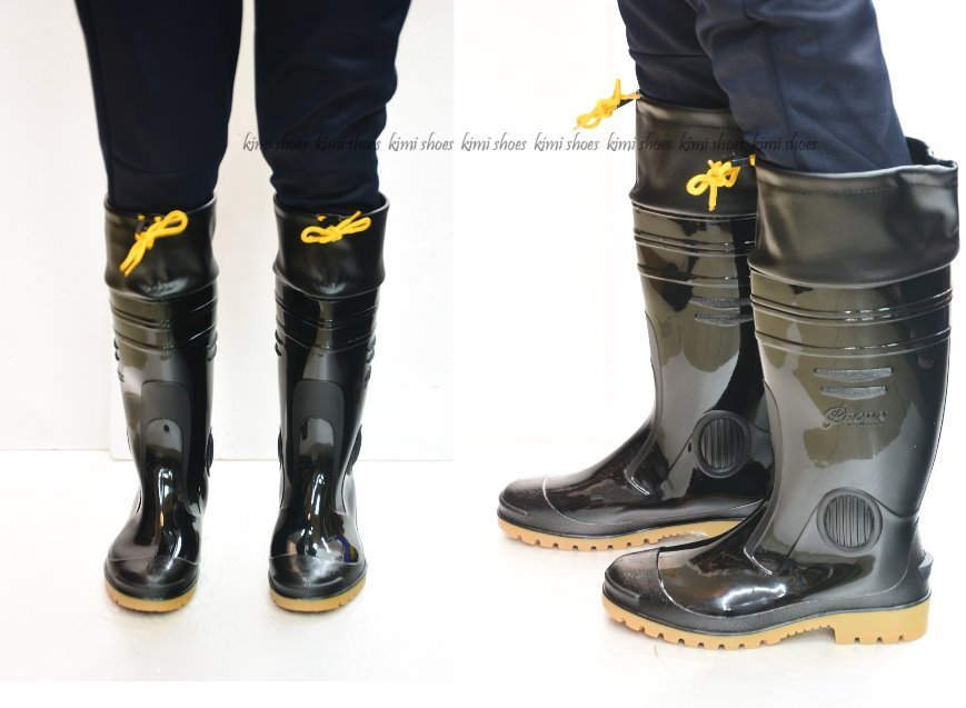 台灣製 皇力 護口型加長雨鞋 寬楦男雨鞋 登山雨鞋 有內裡 膠鞋 男長筒雨鞋 防水 防滑 耐磨 工作鞋