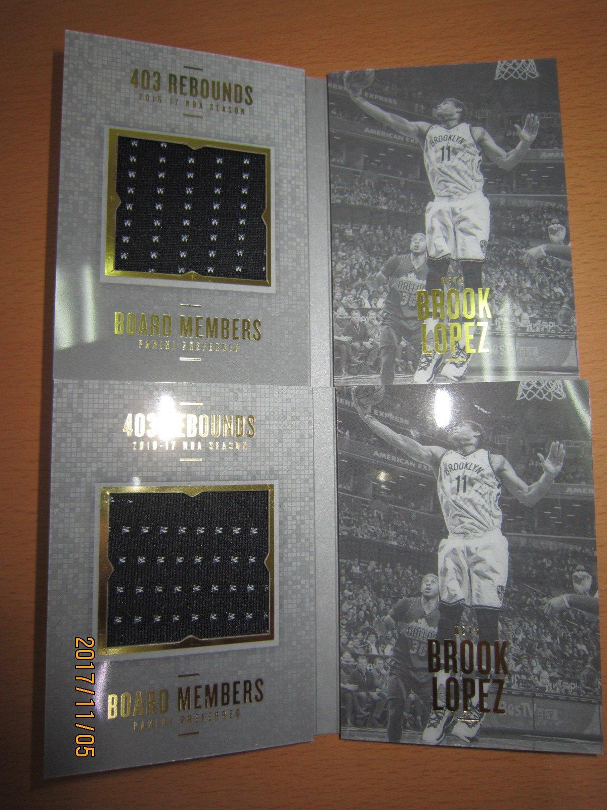 網拍讀賣~Brook Lopez~湖人隊球星~書卡~限量壓克力球衣卡/99~Preferred~普特卡~共2張~1000