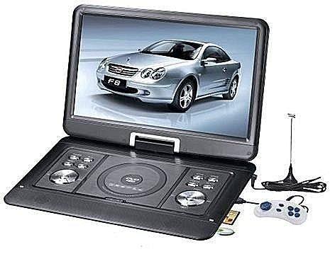 【多多百貨】NS-1589 14吋TFT-LCD屏DVD + ATV 270°旋轉可攜式DVD播放器/機 行動影音