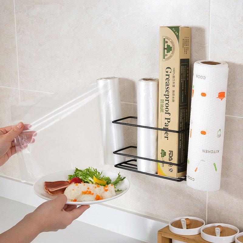 廚房寶居家家廚房保鮮膜收納架鐵藝冰箱側壁掛架衛生間紙巾置物架卷紙架