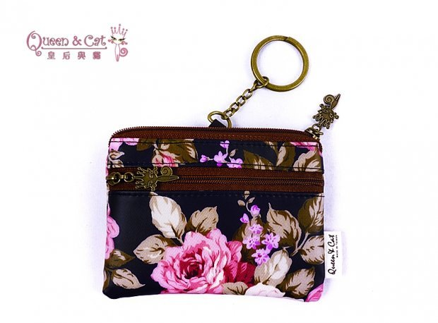 白鳥奈子 舖 鑰匙收納零錢包 鑰匙圈零錢包 多 防水布包  Queen   Cat 紫玫瑰 滿千免運