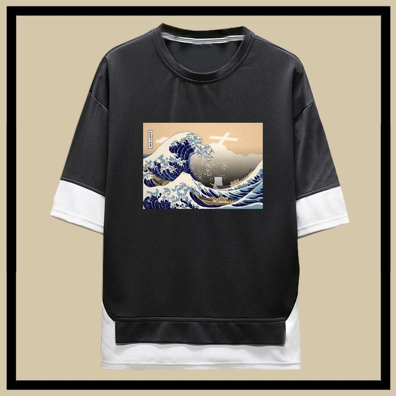 日本福島核廢水神奈氚衝浪裏輻世繪短袖t恤男女夏季五分袖假兩件