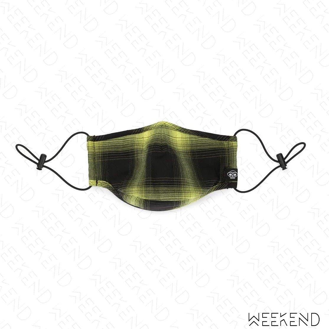 【WEEKEND】 MOSTLT HEARD RARELY SEEN MHRS 格紋 可調式束帶 口罩 黃黑色