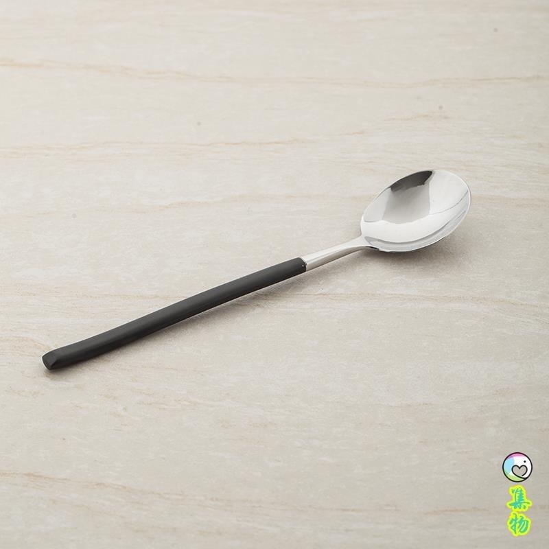 歐式不銹鋼西餐餐具 黑柄圓頭小湯勺湯更 西瓜勺 飯勺