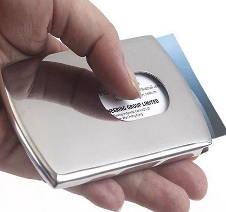 沛恩  手推式拉絲白鋼商務名片盒 不銹鋼名片夾 名片盒 卡盒 卡包 卡夾