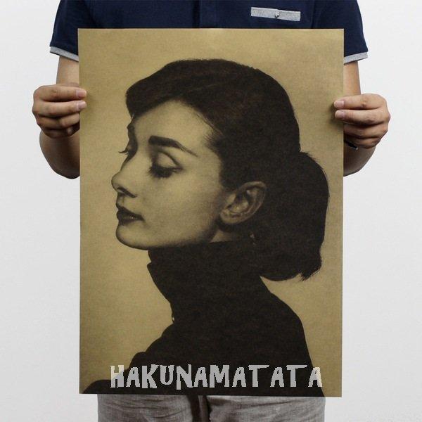 【貼貼屋】奧黛莉赫本 懷舊復古 牛皮紙海報 店面裝飾 名人海報 422