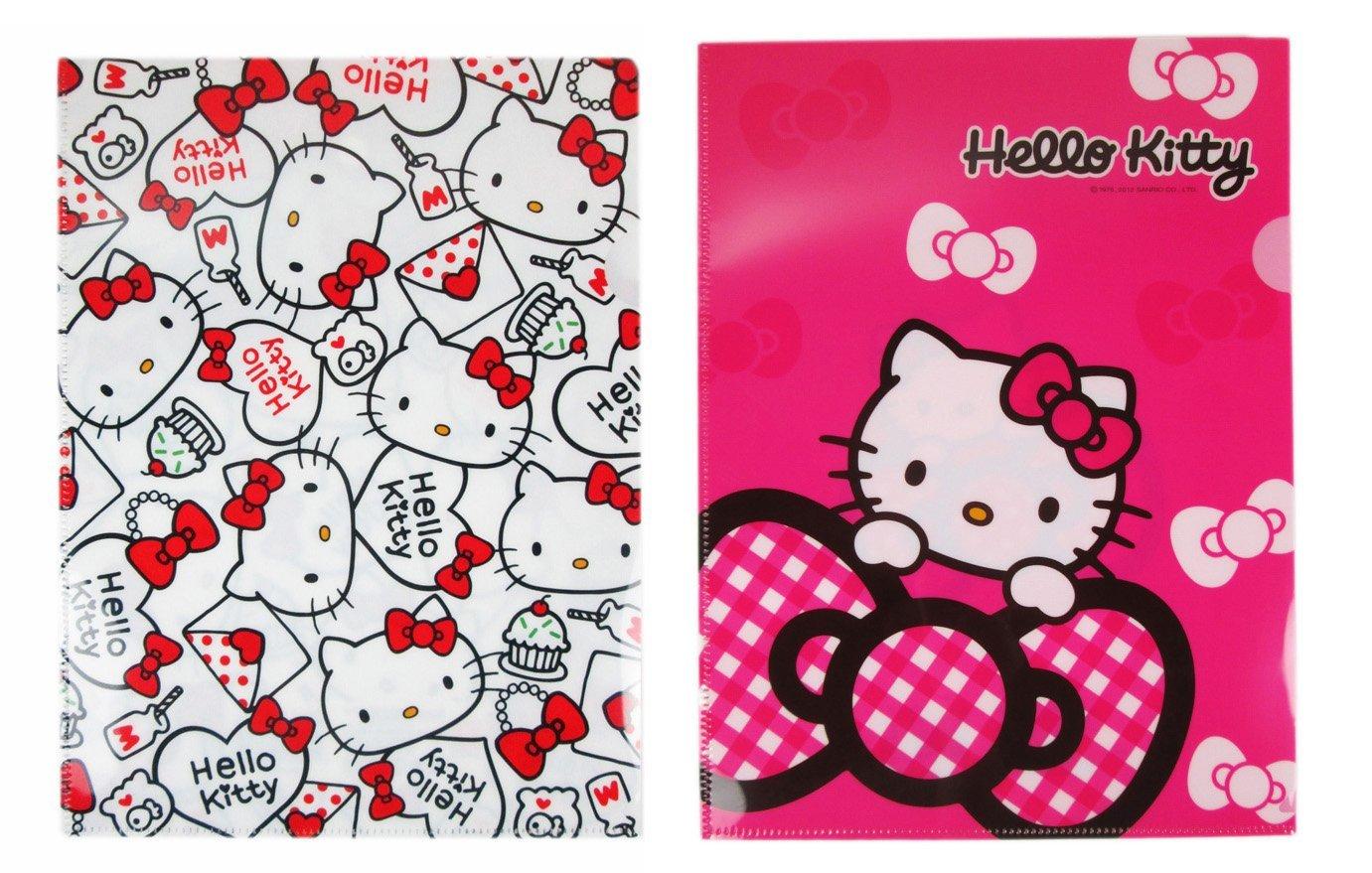 【卡漫迷】 Hello Kitty 雙面 文件袋 兩入組 ㊣版 鈕釦式 L型 資料夾 三麗鷗 資料夾 檔案夾 文件夾