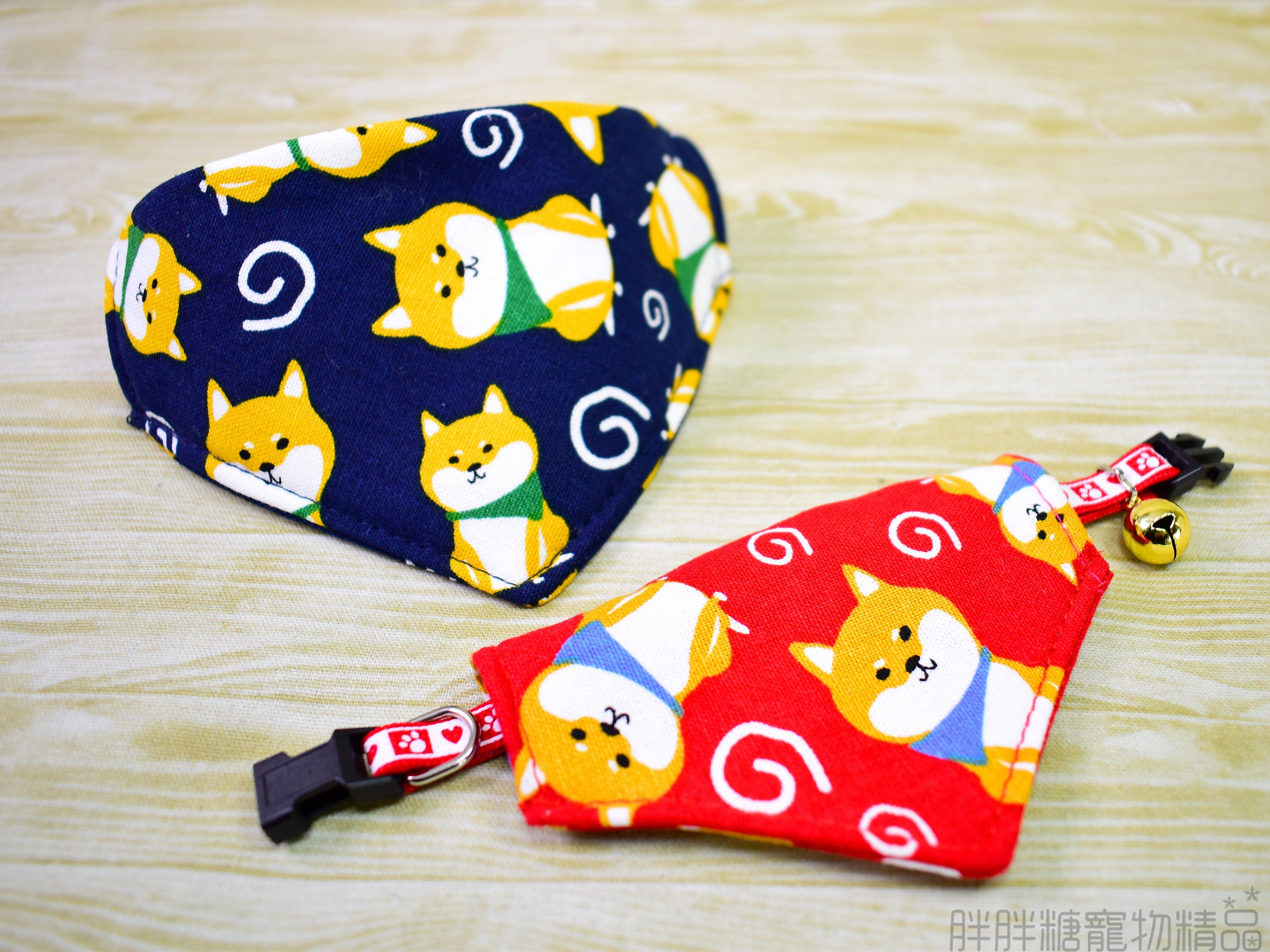 【胖胖糖】日式柴犬領巾項圈(XS號)-寵物項圈 安全扣 可伸縮 大中小型犬 頸圈 貓項圈 狗項圈