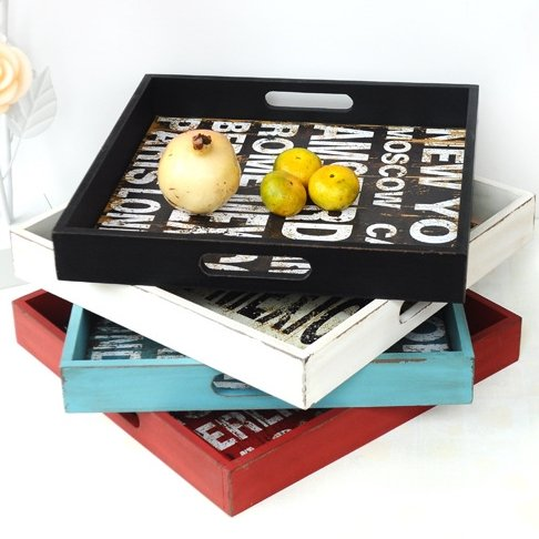 美式鄉村復古 黑白藍紅色英文字母單格托盤餐盤 工業風木製酷仿舊裝飾1層格正方形收納置物木盒 酒館民宿餐廳展示雜貨