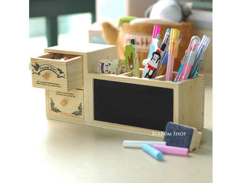 ☆ ☆ 木質雙層抽屜 小黑板筆筒 鉛筆盒 原木插槽可調式筆筒 磁性黑板白板 留言板 磁鐵板擦粉筆 辨公室  A77