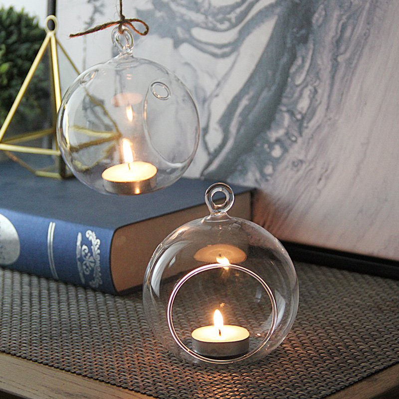 熱銷#創意兩用懸掛透明玻璃燭臺現代家居客廳燭光晚餐裝飾擺設3個#燭臺#裝飾