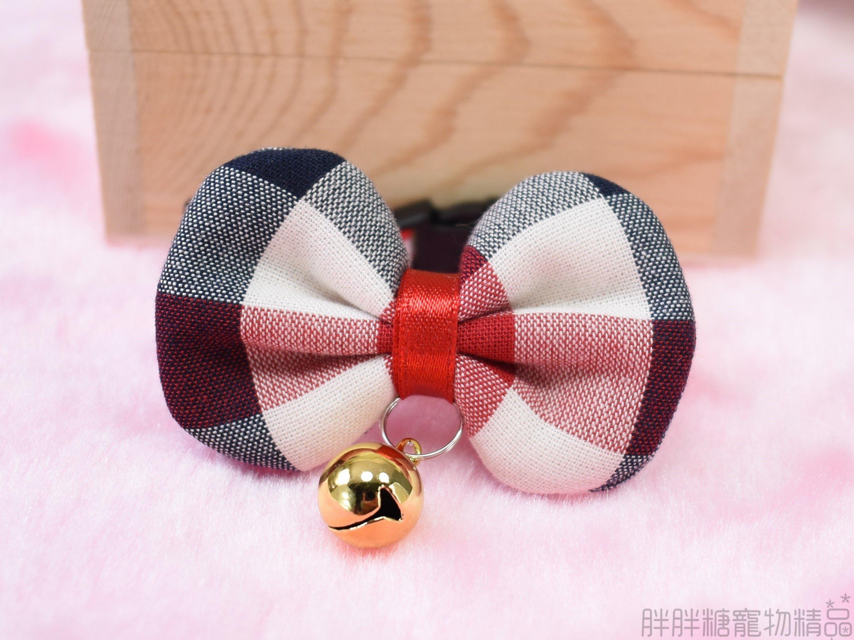 【胖胖糖】紅黑格子風領結項圈(XS號)-寵物項圈 安全扣 可伸縮 MIT  小型犬 貓項圈 狗項圈 頸圈
