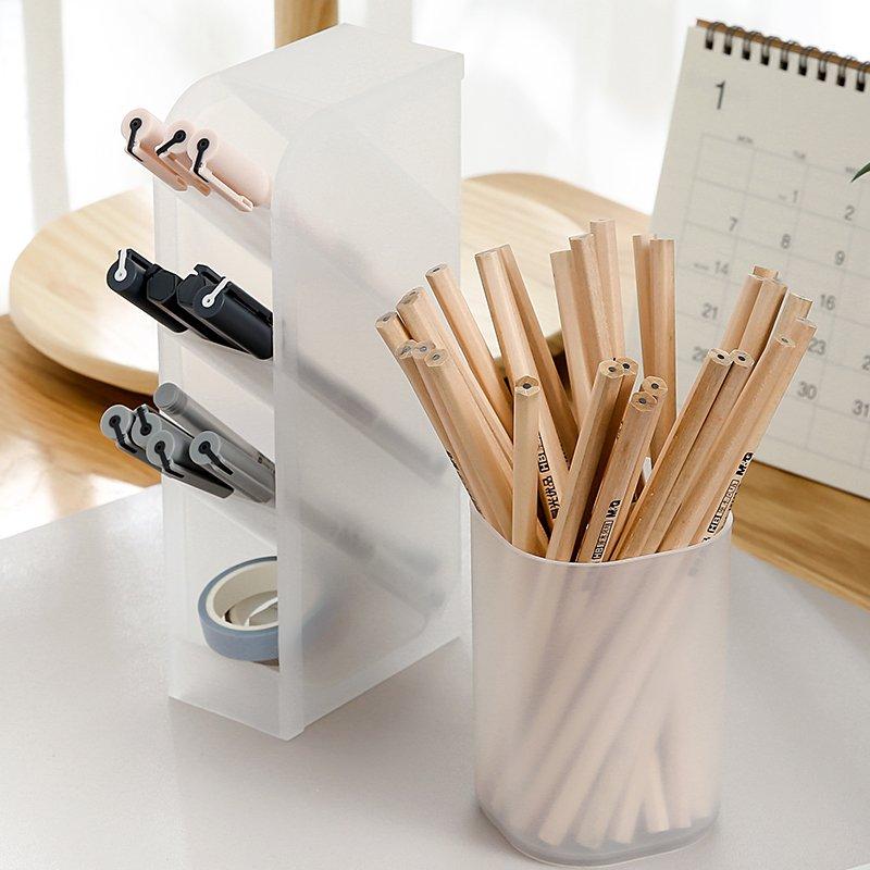 文具收納WEEK BAR 透明磨砂桌面筆筒辦公室女收納盒筆桶學生文具用品