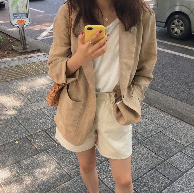 限時特賣 / 一粒釦薄外套 超好搭好看棉麻西裝外套 艾爾莎【TGK7835】