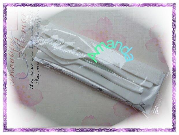 長榮航空 -- 白色餐具組(餐巾紙/濕紙巾/刀子/叉子/湯匙/牙籤)(全新未拆封) ~ 賣場另有 星巴克 馬克杯