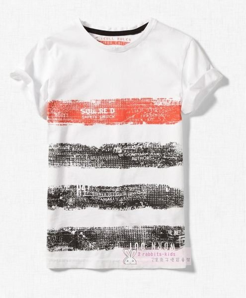 。2隻兔子 。Zara boy 男童 復古横條紋印花純棉T恤 7-12Y(A026) 款