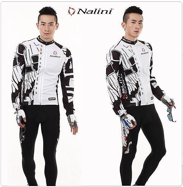 呱啦呱啦代購 白NALINI 意大利 自行車服 車衣車褲長套裝 腳踏車服/長袖單車車衣 騎行服